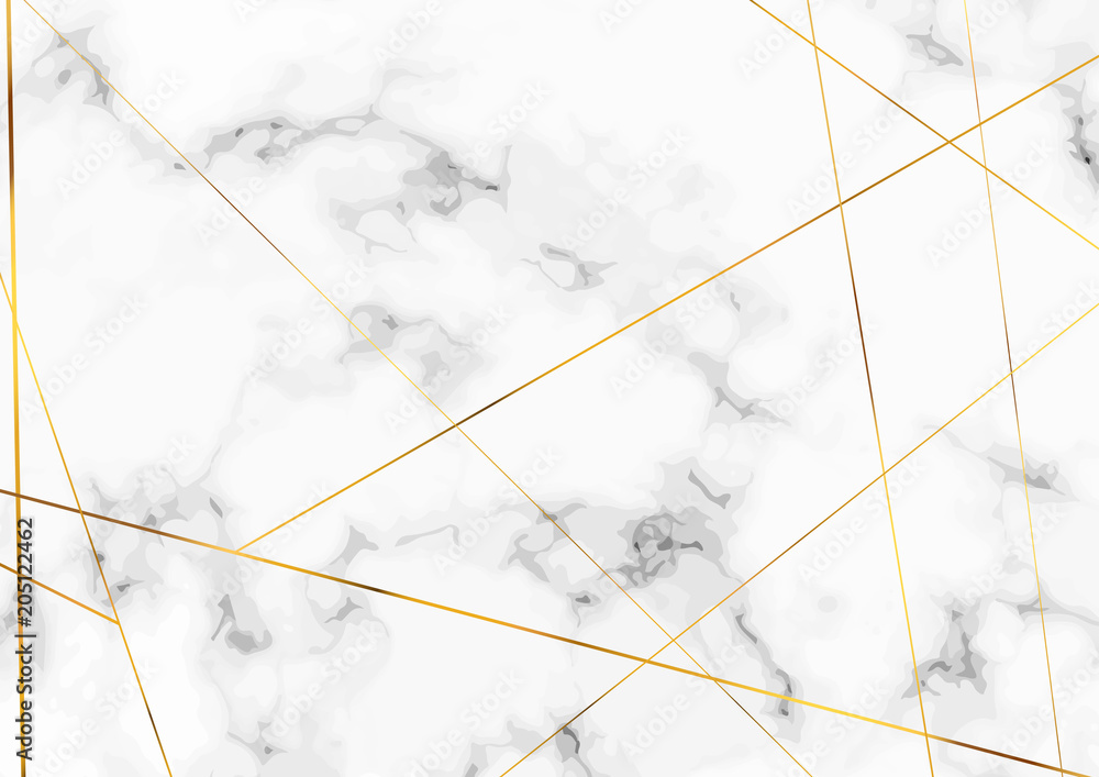 Fototapeta Marble stone plate with chic golden lines pattern