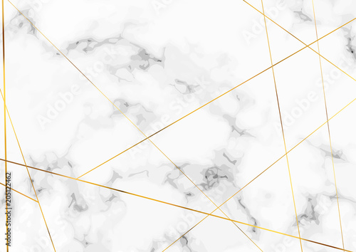 obraz PCV Marble stone plate with chic golden lines pattern