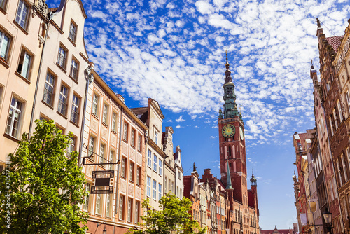 obraz dibond Gdansk, Poland, colourful historic houses on the central market square