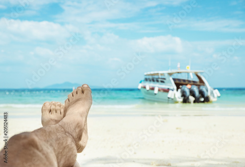 Foto op Plexiglas Artist KB Conceptual picture of relaxing person on an asian beach