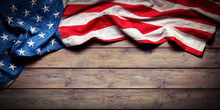 American Flag On Wooden Table ...