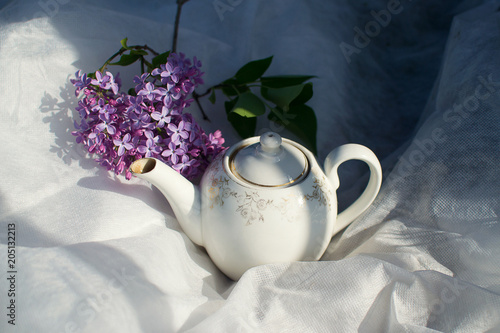 Cuadros en Lienzo white teapot for tea in sunlight with lilac flowers