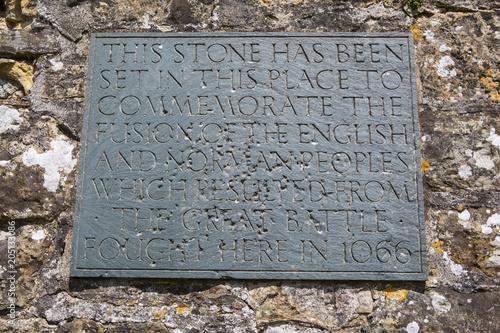 Battle of Hastings Plaque at Battle Abbey Canvas Print