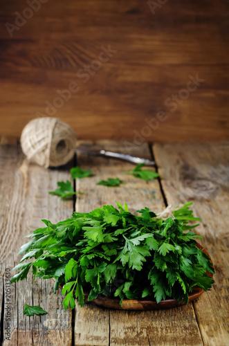 Fresh Parsley Bunch on a wood background