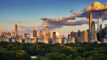 New York City Upper East Side Skyline Over The Central Park At Sunset, USA.