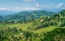 Panoramic View Of The Hills Surrounding Urbino, City And World Heritage Site In The Marche Region Of Italy.