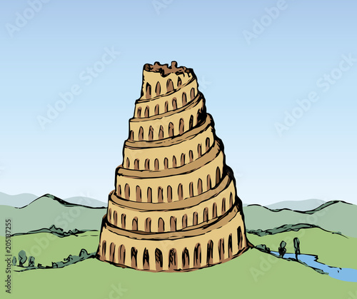 Fényképezés Tower of Babel. Vector drawing