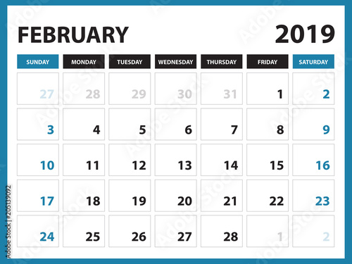 Desk Calendar For FEBRUARY 2019 Template Printable Calendar