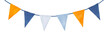Leinwandbild Motiv Cute, colorful, party garland with decorative festive flags. Yellow orange, light blue, dark indigo colors; triangular shape. Hand drawn water colour graphic painting on white, clip art for design.