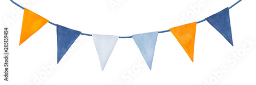 Fotografia  Cute, colorful, party garland with decorative festive flags