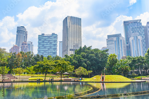 KLCC public park with skyline view in Kuala Limpur, Malaysia Poster
