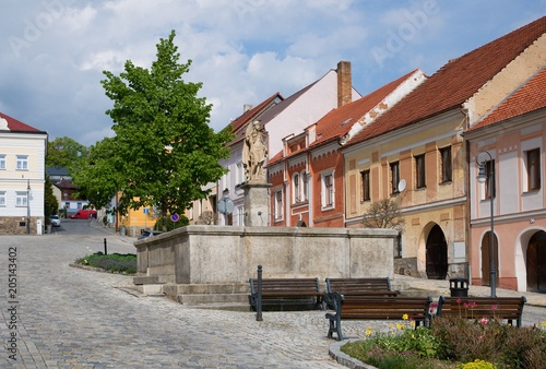 Poster Artistiek mon. Square with fountain in the historic town Vimperk, southern Bohemia, Czech republic, Europe,