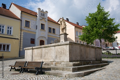 Foto op Plexiglas Artistiek mon. Square with fountain in the historic town Vimperk, southern Bohemia, Czech republic, Europe,