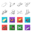 Bicycle, rickshaw, plane, yacht.Transport set collection icons in outline,flat style vector symbol stock illustration web.