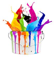 Wild Color Splash In Paint Buc...