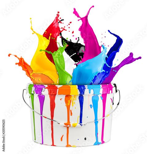 Wild color splash in paint bucket isolated on white background renovation concept / Farbspritzer bunt regenbogen Farbeinemer farben konzept isoliert