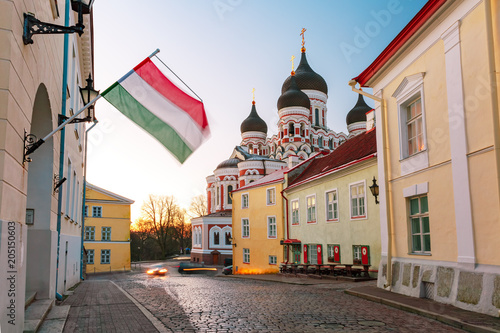 Foto op Aluminium Centraal Europa Cozy street and Russian Orthodox Alexander Nevsky Cathedral in the morning, Tallinn, Estonia