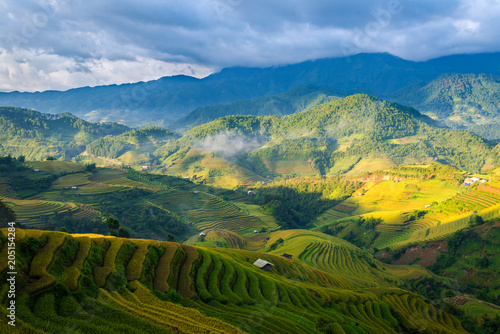 Fotografie, Obraz  Beautiful mountain range with rice terraced when looking from the LA PAN TAN vie