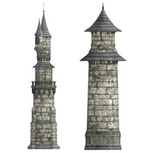 Old Castle / Tower Isolated On White, 3d Render.