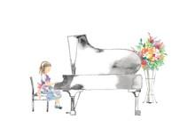 ピアノ発表会、女の子...