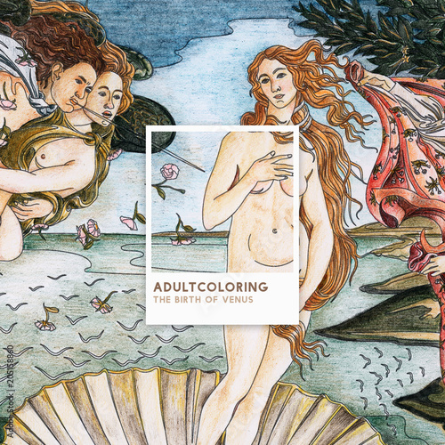 Fotografía The Birth of Venus (1483-1485) by Sandro Botticelli adult coloring page