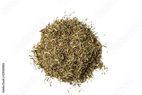 Pile of dried thyme seasoning isolated on white background