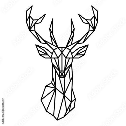 Sylwetka geometryczna linii głowy jelenia