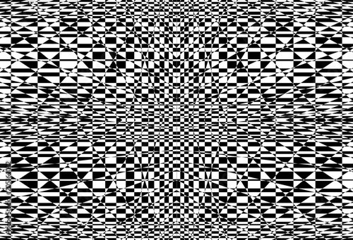 Geometric background with checkered texture - Abstract illusion Fototapet