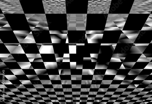 Geometric background with checkered texture - Abstract illusion Canvas Print