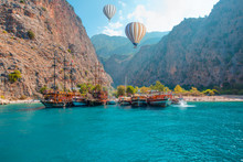 Tourists Visit Famous Butterfly Valley Beach - Oludeniz, Turkey