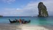 Longtail boats near tropical Poda island in Thailand, 4k