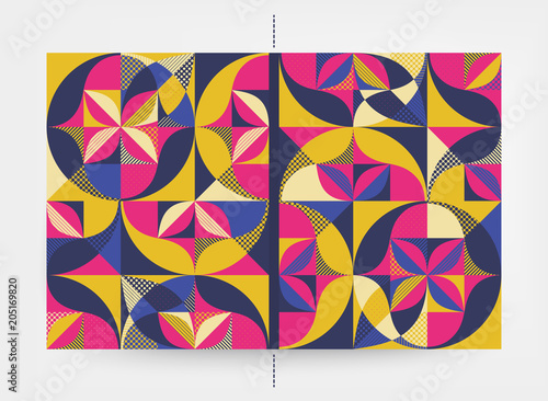 Motiv-Fußmatte - Cover design template. Abstract colorful geometric design. Vector illustration. Can be used for advertising, marketing, presentation. (von Login)
