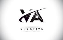 VA V A Letter Logo Design With Swoosh And Black Lines.