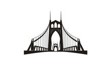 Silhouette Of St. Johns Bridge...