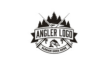 Bass Carp Salmon With Pines Conifer Evergreen Tree For Forest River Creek Angler Fishing Emblem Logo Design