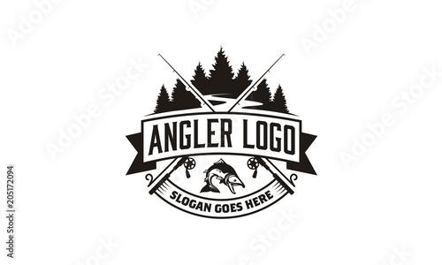 Forest River Creek Angler Fishing Emblem Logo design Canvas Print
