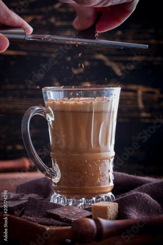 Foto op Aluminium Milkshake Chocolate gogol-mogol (a drink of raw eggs with cocoa), selective focus