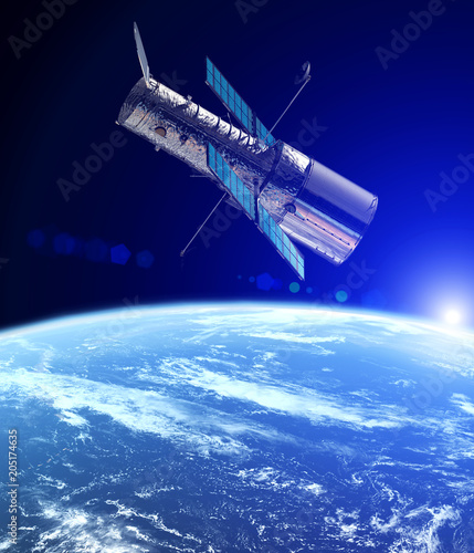 Fotografie, Obraz The Hubble space telescope in the orbit of planet Earth