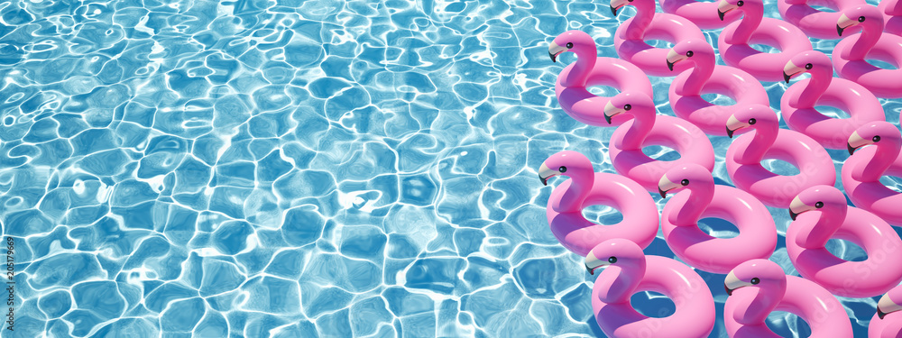 Photo  3D rendering. a lot of flamingo floats in a pool