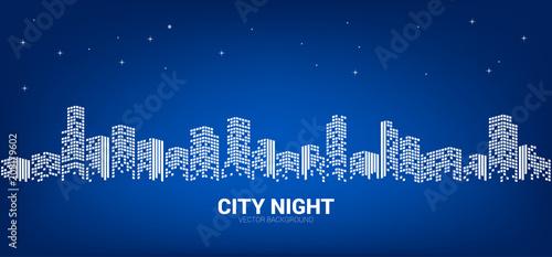 Panoramy miasta nocy tło z gwiaździstym niebem