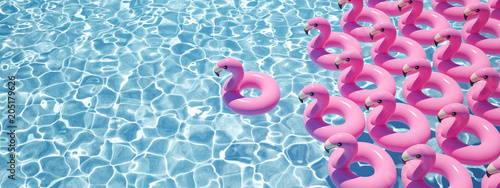 Obraz na plátně 3D rendering. a lot of flamingo floats in a pool