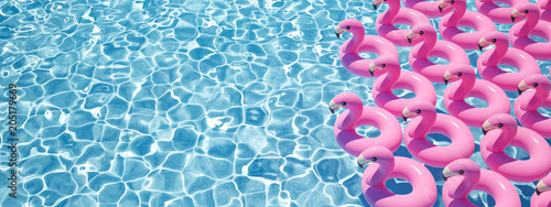Valokuvatapetti 3D rendering. a lot of flamingo floats in a pool