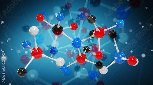 Keuken foto achterwand Edelsteen Modern digital molecule structure 3D rendering