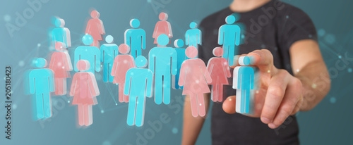 Poster Vissen Businessman using 3D rendering group of people