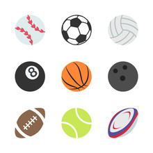Sports Balls Set. Illustration Of A Set Of Popular Sports Balls And Bowls Equipment, For Football, Soccer, Rugby, Tennis, Volleyball, Basketball, Baseball, Gulf Ball For Fitness And Bowling