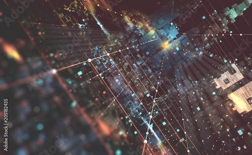 abstrakcjonistyczna-techniki-tla-3d-ilustracja-kwantowa-architektura-komputerowa-fantastyczne-miasto-noca-futurystyczne-technologie-w-globalnej-sieci-komunikacyjnej
