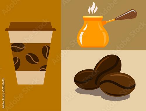 Foto Coffee cup coffeemaker coffeepot takeaway beverage vector texture drink food illustration
