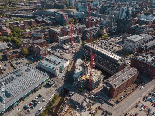 Tuinposter Centraal-Amerika Landen Aerial Drone Construction Work City Centre Building Apartments Crane High Rise