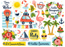 Summer Set, Hand Drawn Elements- Calligraphy, Flowers, Tropical Leaf, Birds, Wreaths And Other. Perfect For Web, Card, Poster, Cover, Tag, Invitation, Sticker Kit. Vector Illustration