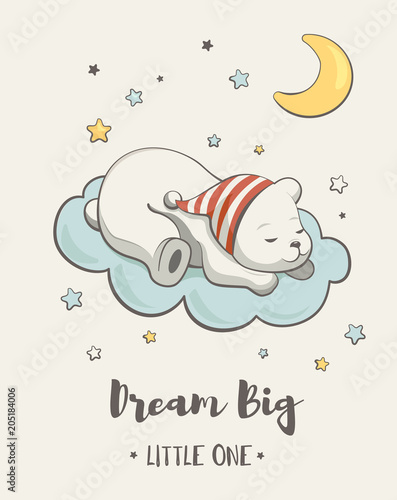 Cute dreaming little bear , cartoon vector illustration, posters for baby room, baby shower celebration greeting cards, kids and baby t-shirts and wear, hand drawn nursery illustration